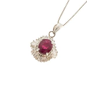 ネックレス ルビー 0.828ct ダイヤモンド 0.4ct Pt850 / 900 プラチナ ペンダント