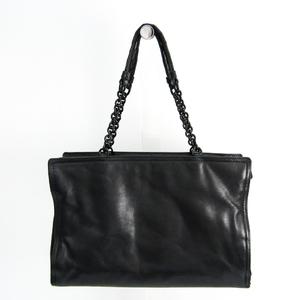 Bottega Veneta Handle Intrecciato Chain Women's Leather Tote Bag Black