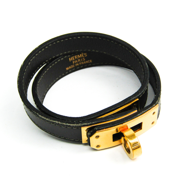Hermes Kelly De Bourtour Leather Bracelet Black,Dark Gray
