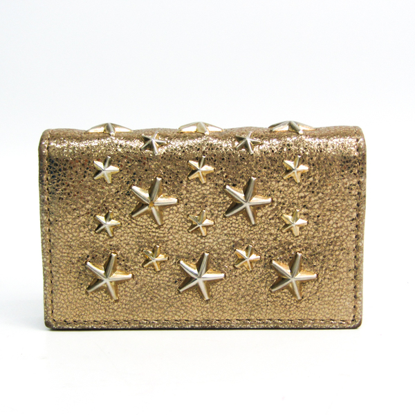 Jimmy Choo Leather Studded Card Case Gold
