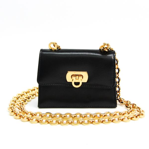Salvatore Ferragamo Gancini 214771 Women's Leather Pochette,Shoulder Bag Black