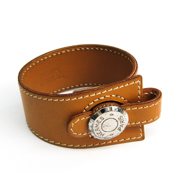 Hermes Sellier Leather Bracelet Brown