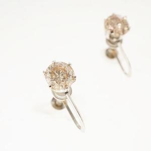 イヤリング ダイヤモンド 0.50ct Pt900 プラチナ 一粒ダイヤ スクリュータイプ