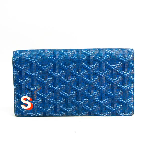 Goyard Herringbone Pattern APM20510 Unisex Leather,Coated Canvas Long Wallet (bi-fold) Blue