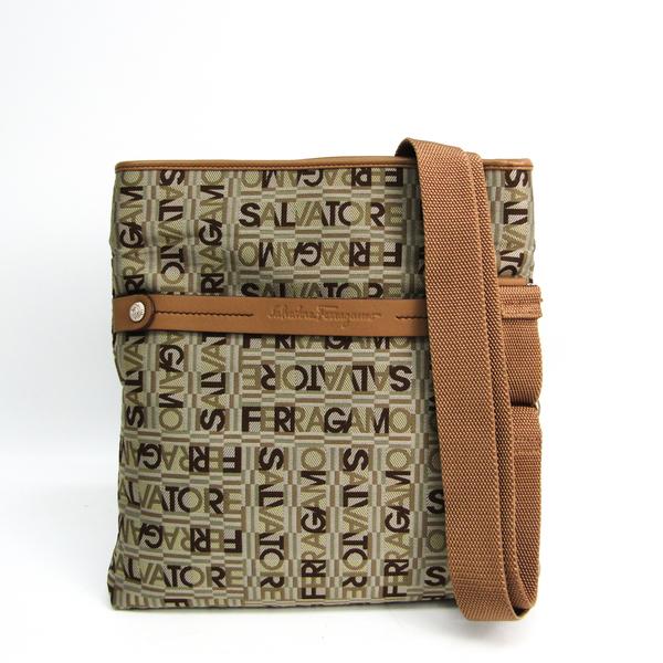 Salvatore Ferragamo TESS MODERNE VACCHET AU-21 8888 Women's Leather,Nylon Canvas Shoulder Bag Beige,Brown