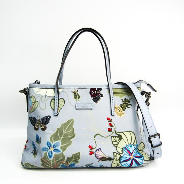 Gucci Chris Night Flora 353440 Women's Nylon Canvas,Leather Shoulder Bag,Tote Bag Light Blue,Multi-color