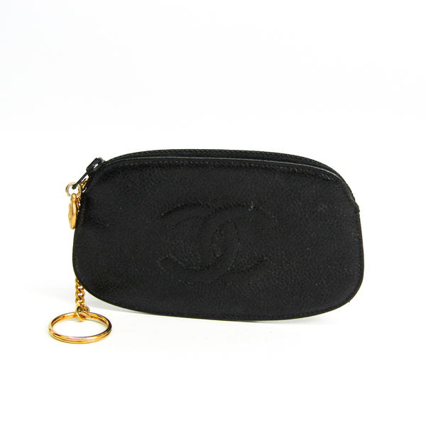 Chanel With Key Ring Women's Caviar Leather Coin Purse/coin Case Black