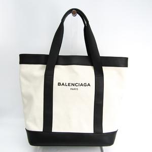 Balenciaga Navy Tote 374767 Unisex Canvas,Leather Tote Bag Black,Off-white