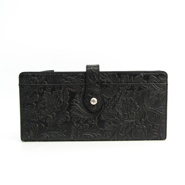 Ralph Lauren Clutch Wallet Floral Pattern Unisex Leather Long Wallet (bi-fold) Black