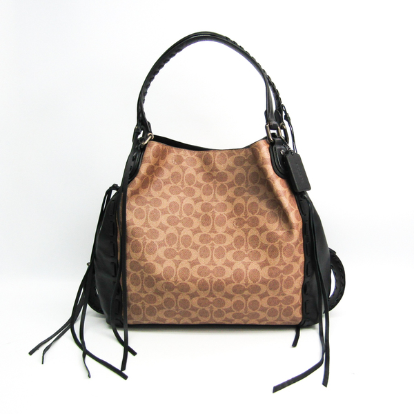 Coach Signature Edie 37123 Women's Leather,Coated Canvas Tote Bag Beige,Black,Brown