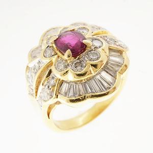 リング ダイヤモンド 1.31 ct ルビー 0.610 ct K18YG イエローゴールド 指輪