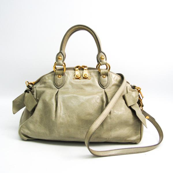 Miu Miu Side Ribbon RL0052 Women's Leather Handbag,Shoulder Bag Light Green