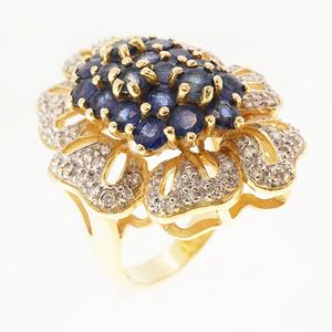 リング サファイア 3.09 ct ダイヤモンド 0.52 ct K18YG イエローゴールド 指輪