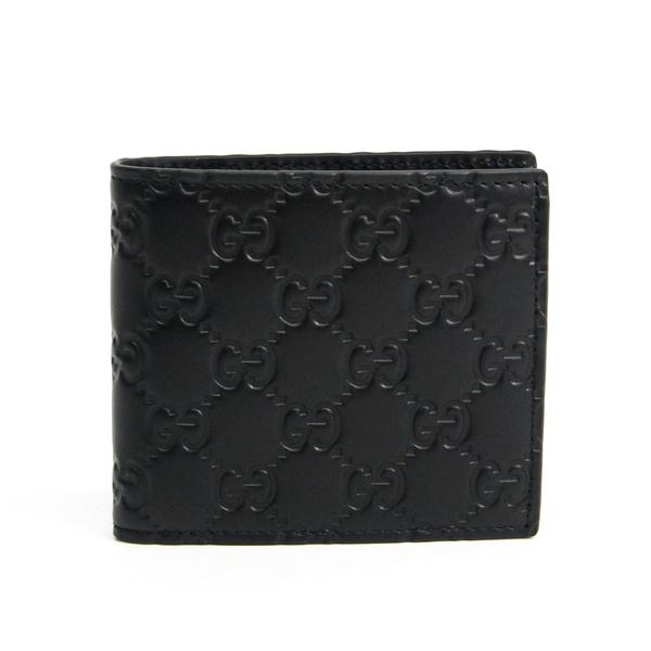 Gucci Guccissima 365467 Men's Leather Wallet (bi-fold) Black