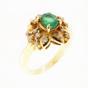リング エメラルド 0.470 ct ダイヤモンド 0.23 ct K18YG イエローゴールド 指輪