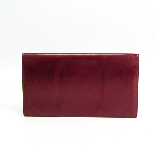 Hermes Unisex Box Calf Leather Long Bill Wallet (bi-fold) Bordeaux