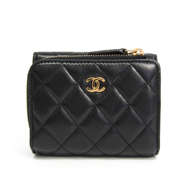 Chanel Matelasse Women's  Lambskin Wallet (tri-fold) Black