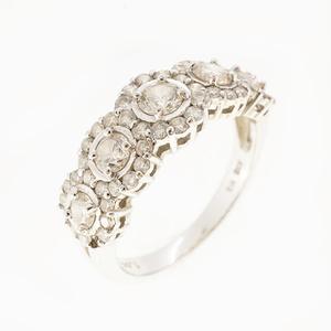 リング ダイヤモンド 1.00 ct メレダイヤ K18WG ホワイトゴールド 指輪