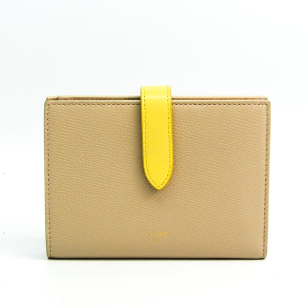 Celine Medium Strap Wallet Bicolor 10B643BRU Women's Leather Middle Wallet (bi-fold) Beige,Yellow