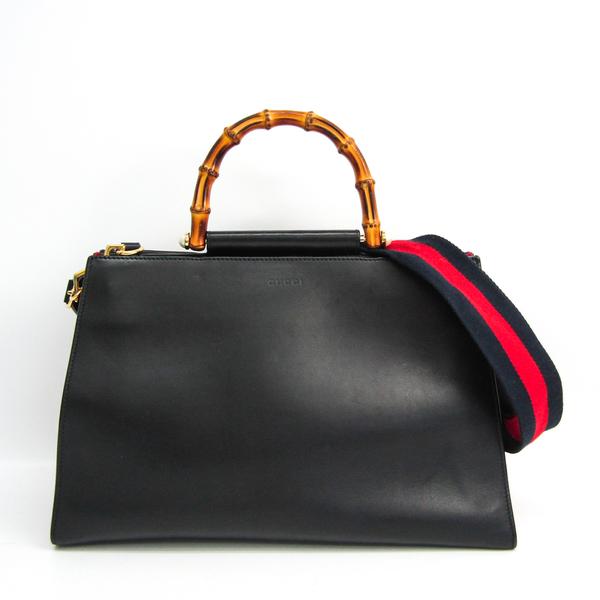 Gucci Bamboo Nim 453764 Women's Leather Handbag,Shoulder Bag Black,Navy,Red Color