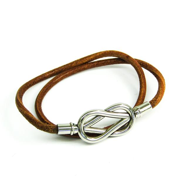 Hermes Atame Choker Leather,Metal Bracelet Brown,Silver