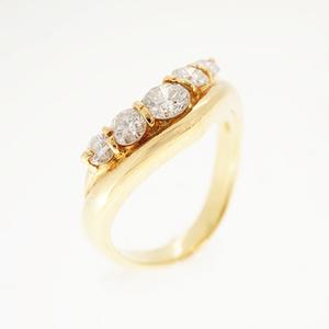 リング ダイヤモンド 0.5 ct メレダイヤ K18YG イエローゴールド 指輪