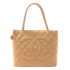 Chanel Caviar Skin Reprint Tote Women's Leather Tote Bag Beige