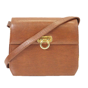 Salvatore Ferragamo Gancini Women's Leather Shoulder Bag Brown