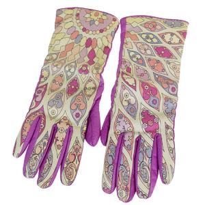 Emilio Pucci Size 7 Long Gloves Purple Leather