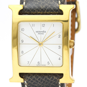 HERMES H Watch Gold Plated Leather Quartz Mens Watch RS1.501