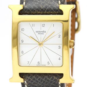 【HERMES】エルメス Hウォッチ ゴールドプレート レザー クォーツ メンズ 時計 RS1.501