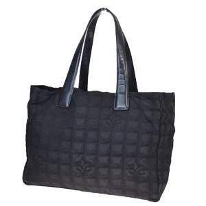 シャネル(Chanel) ニュートラベルライン MM CC logo ジャカード,レザー トートバッグ ブラック