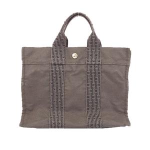 Auth Hermes Her Line TotePM Men,Women,Unisex Canvas Handbag,Tote Bag Black