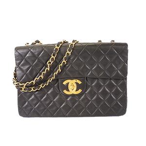 Auth Chanel Deca Matasse Lambskin Women's Leather Shoulder Bag Blac