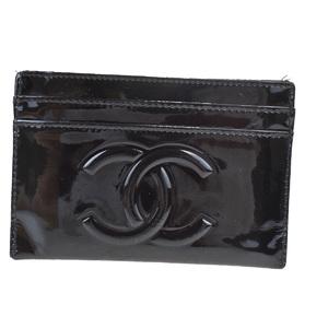 シャネル(Chanel) CCロゴ パテントレザー カードケース ブラック