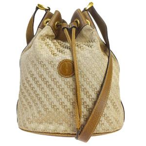 Gucci Drawstring Leather,Canvas Shoulder Bag Brown
