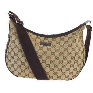 Gucci GG Canvas Leather,Canvas Shoulder Bag Brown