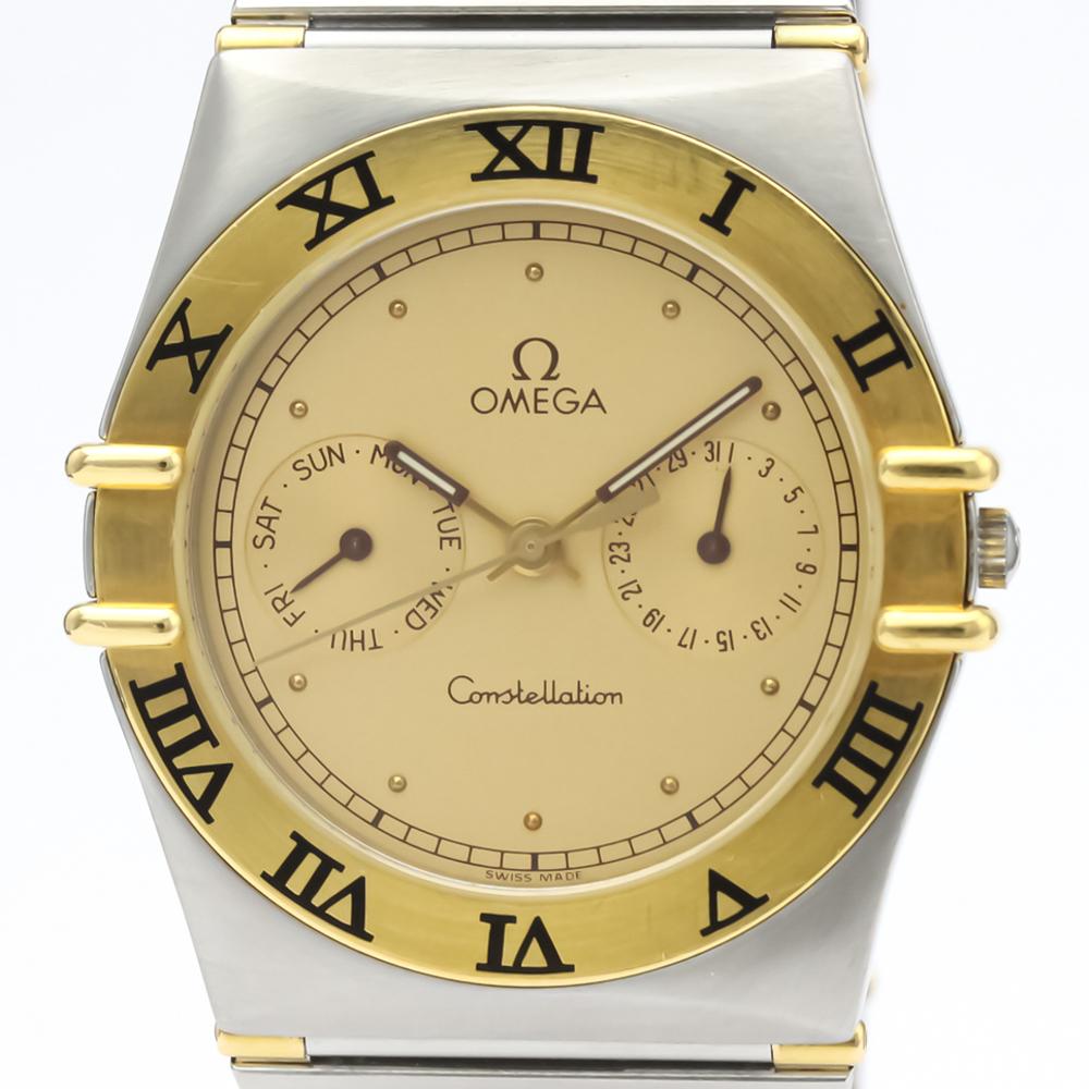 【OMEGA】オメガ コンステレーション デイデイト K18 ゴールド ステンレススチール クォーツ メンズ 時計 396.1070