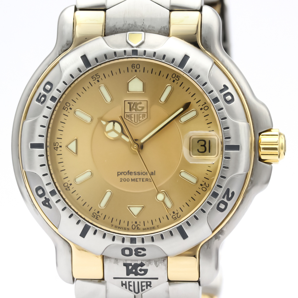TAG HEUER 6000 Professional 18K Gold Steel Mens Watch WH1153