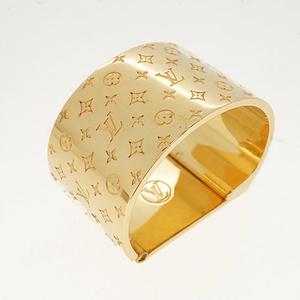 ルイヴィトン スカーフリング テキスタイルブローチ ナノグラム ゴールドカラー