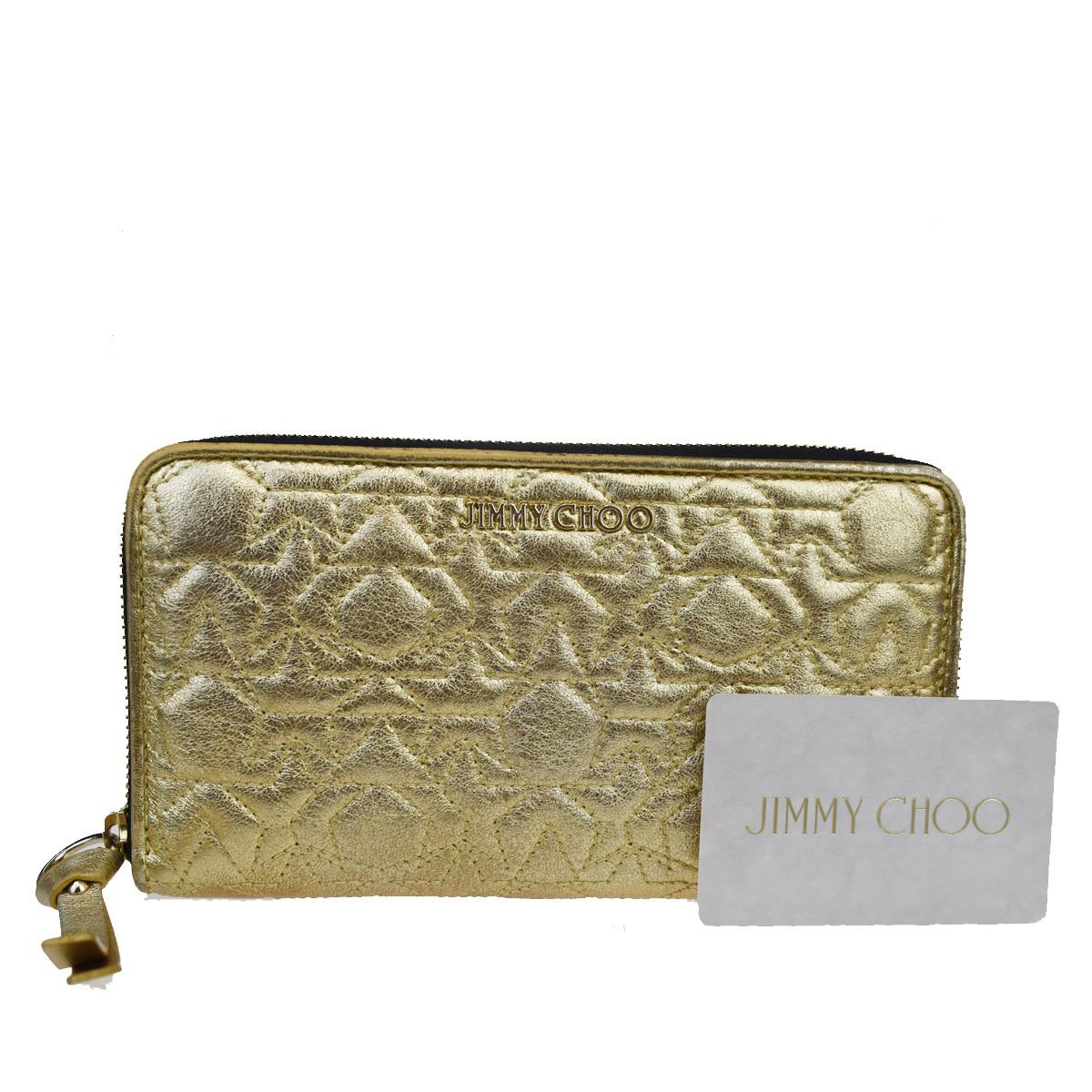 ジミーチュウ(Jimmy Choo) ジッパー レザー 長財布(二つ折り) ゴールド