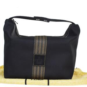 Fendi Pequin Coated Canvas,Rubber Handbag Black