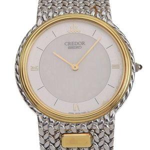 SEIKO Credor 18K Gold Steel Quartz Mens Watch 5A74-0240