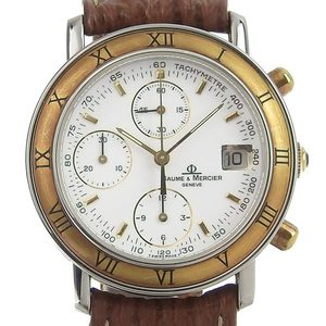BAUME & MERCIER Bawmatic Gold Plated Steel Leather Automatic Mens Watch 6104.018