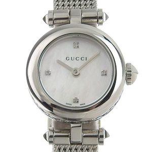 GUCCI Diamond MOP Dial Stainless Steel Quartz Ladies Watch 141.5