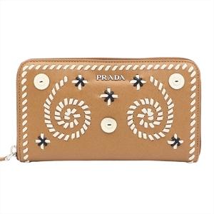 Prada Saffiano RICAMO Women's Saffiano Long Wallet (bi-fold) Camel