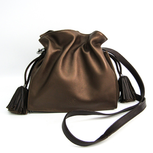 Loewe Flamenco Twenty Two Women's Leather Shoulder Bag Bronze,Dark Brown