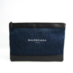 バレンシアガ(Balenciaga) ネイビークリップ M 420407 レディース デニム,レザー クラッチバッグ ネイビー,ブラック
