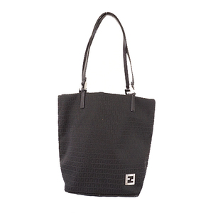 Fendi Zucchino Handbag Women's Canvas Handbag Black