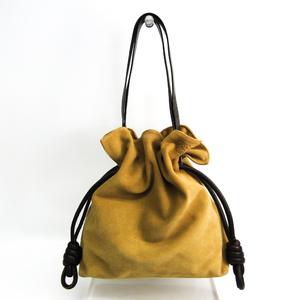 Loewe Flamenco Knot Women's Suede,Leather Shoulder Bag Beige,Dark Brown